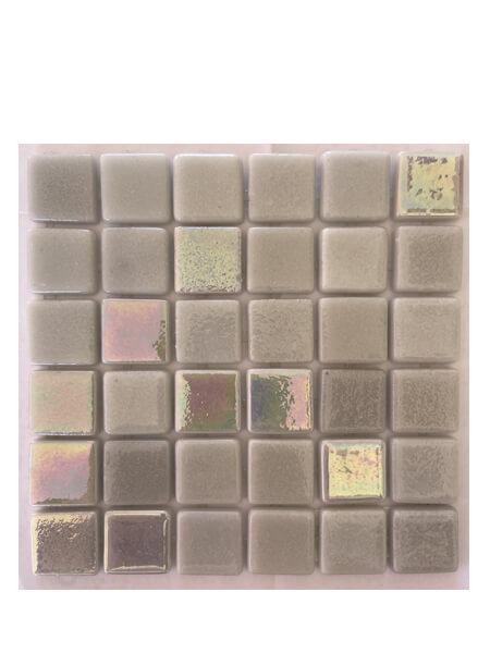 Gresite para piscinas tesela 2,5x2,5 cm puntos de silicona 49x31 cm gris nacar N1100.