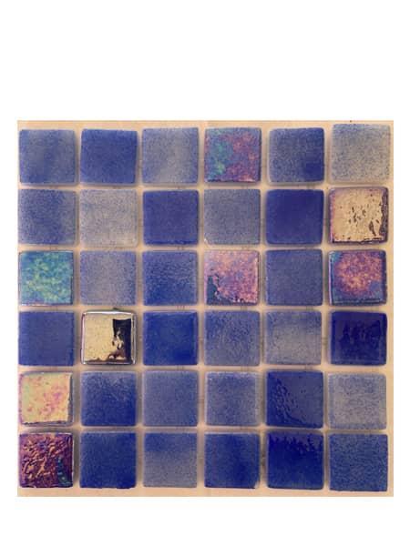 Gresite para piscinas tesela 2,5x2,5 cm puntos de silicona 49x31 cm azul oscuro nacarado