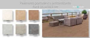 Pavimento antideslizante porcelánico Ford cuero 33x33 cm.