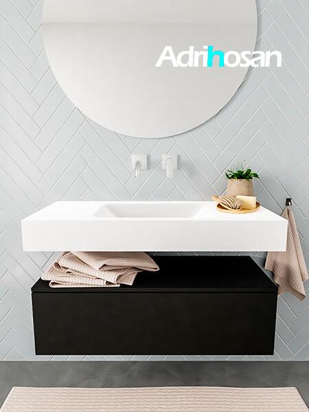 Mueble suspendido ALAN 100 cm de 1 cajón urban. Encimera con lavabo CLOUD centro sin orificio blanco mate