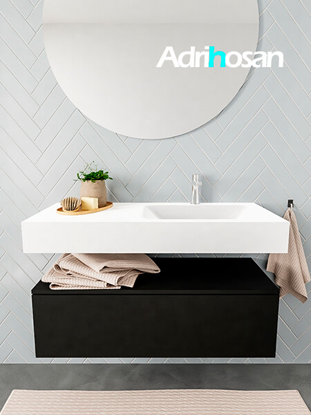 Mueble suspendido ALAN 100 cm de 1 cajón urban. Encimera con lavabo CLOUD derecha 1 orificio blanco mate