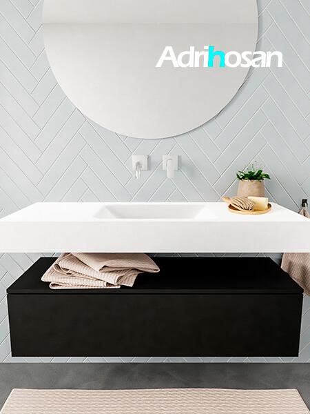 Mueble suspendido ALAN 120 cm de 1 cajón urban. Encimera con lavabo CLOUD centro sin orificio blanco mate