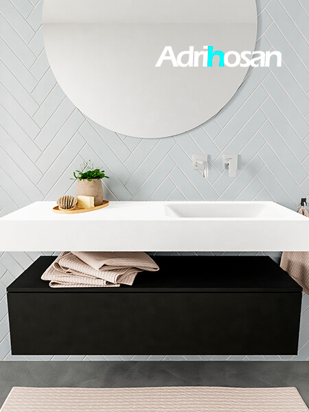 Mueble suspendido ALAN 120 cm de 1 cajón urban. Encimera con lavabo CLOUD derecha sin orificio blanco mate
