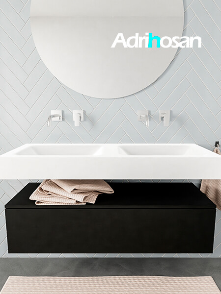 Mueble suspendido ALAN 120 cm de 1 cajón urban. Encimera con lavabo CLOUD doble sin orificio blanco mate