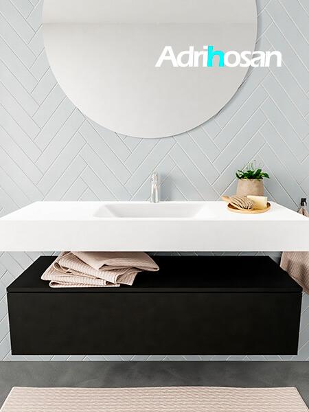 Mueble suspendido ALAN 120 cm de 1 cajón urban. Encimera con lavabo CLOUD centro 1 orificio blanco mate