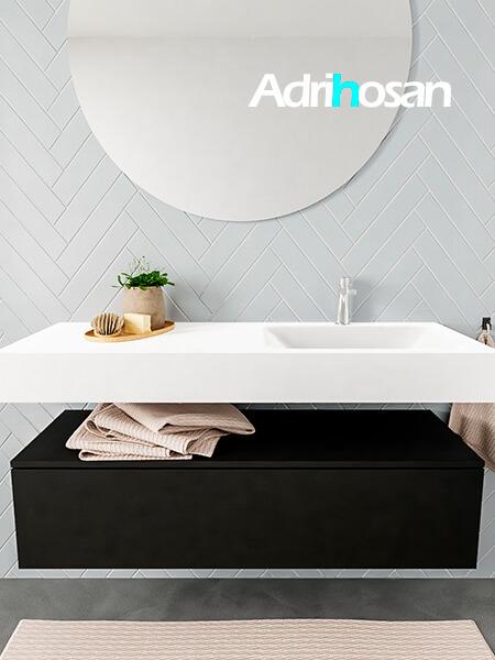 Mueble suspendido ALAN 120 cm de 1 cajón urban. Encimera con lavabo CLOUD derecha 1 orificio blanco mate