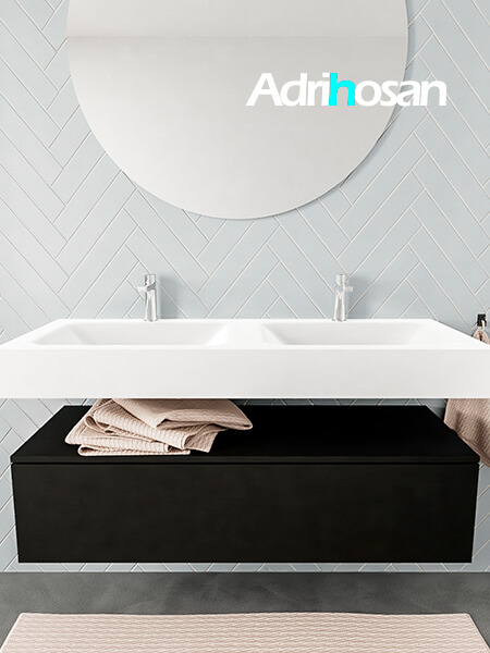 Mueble suspendido ALAN 120 cm de 1 cajón urban. Encimera con lavabo CLOUD doble 2 orificios blanco mate
