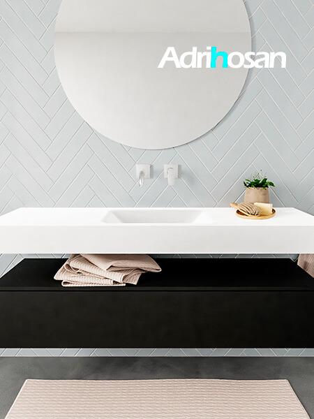 Mueble suspendido ALAN 150 cm de 1 cajón urban. Encimera con lavabo CLOUD centro sin orificio blanco mate