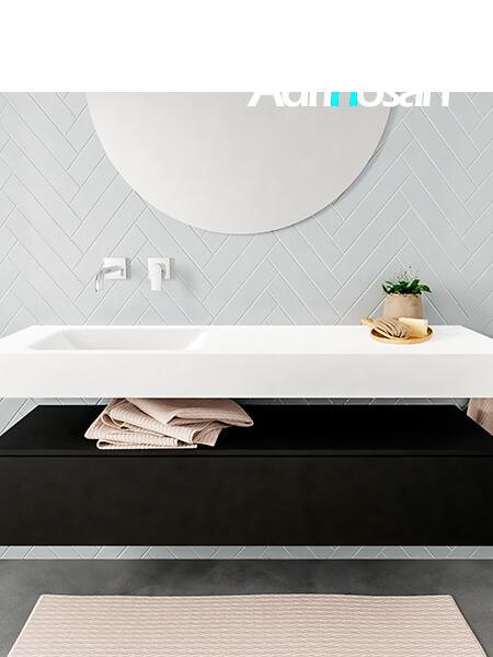 Mueble suspendido ALAN 150 cm de 1 cajón urban. Encimera con lavabo CLOUD izquierda sin orificio blanco mate