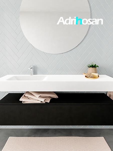 Mueble suspendido ALAN 150 cm de 1 cajón urban. Encimera con lavabo CLOUD izquierda 1 orificio blanco mate