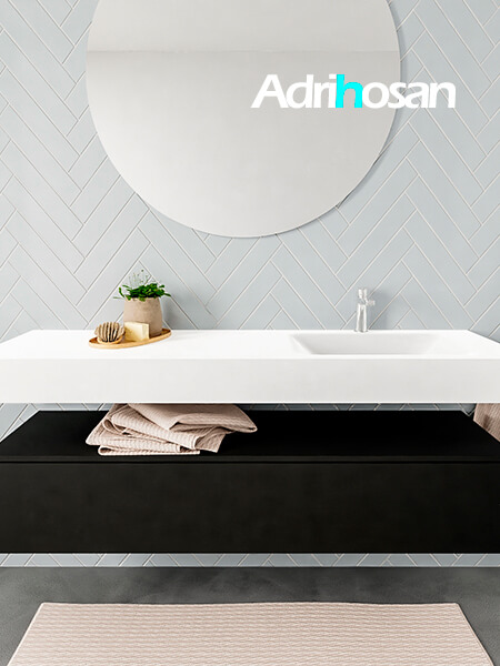Mueble suspendido ALAN 150 cm de 1 cajón urban. Encimera con lavabo CLOUD derecha 1 orificio blanco mate
