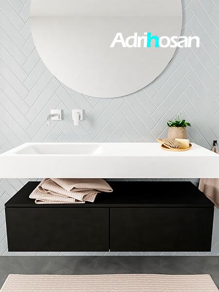 Mueble suspendido ALAN 120 cm de 2 cajones urban. Encimera con lavabo CLOUD izquierda sin orificio blanco mate