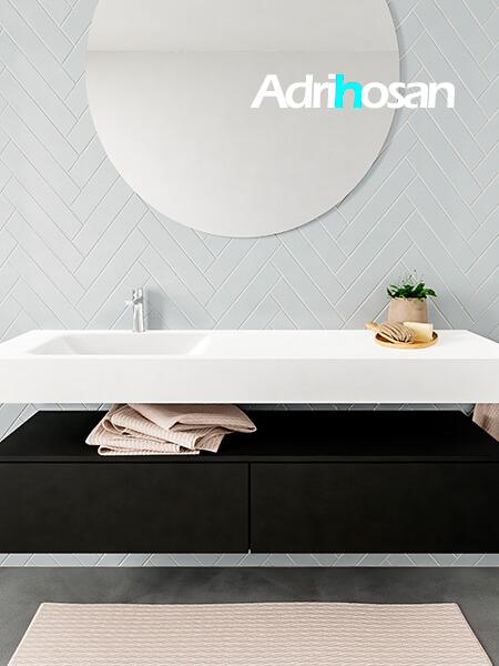 Mueble suspendido ALAN 150 cm de 2 cajones urban. Encimera con lavabo CLOUD izquierda 1 orificio blanco mate