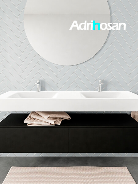Mueble suspendido ALAN 150 cm de 2 cajones urban. Encimera con lavabo CLOUD doble 2 orificios blanco mate