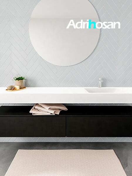 Mueble suspendido ALAN 200 cm de 2 cajones urban. Encimera con lavabo CLOUD derecha 1 orificio blanco mate
