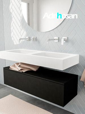 Badkamermeubel met solid surface wastafel model ALAN wit kast matzwart side 00011 3