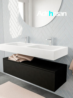 Badkamermeubel met solid surface wastafel model ALAN wit kast matzwart side 00015 3