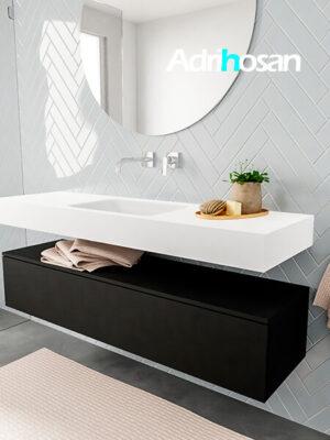 Badkamermeubel met solid surface wastafel model ALAN wit kast matzwart side 00016 3