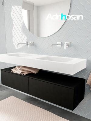 Badkamermeubel met solid surface wastafel model ALAN wit kast matzwart side 00035 3