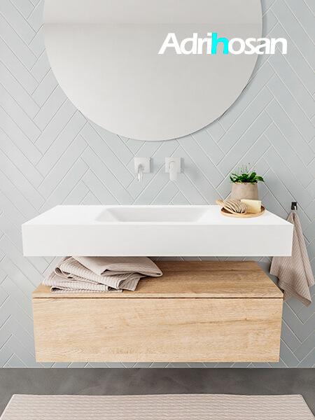 Mueble suspendido ALAN 100 cm de 1 cajón roble lavabo. Encimera con lavabo CLOUD centro sin orificio blanco mate