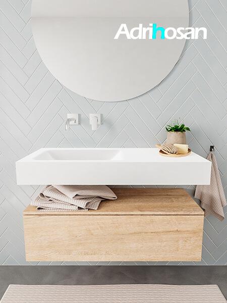Mueble suspendido ALAN 100 cm de 1 cajón roble lavabo. Encimera con lavabo CLOUD izquierda sin orificio blanco mate