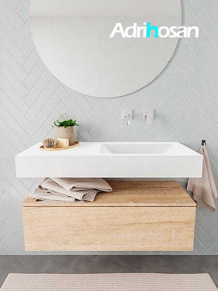 Mueble suspendido ALAN 100 cm de 1 cajón roble lavabo. Encimera con lavabo CLOUD derecha sin orificio blanco mate