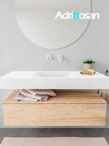 Mueble suspendido ALAN 120 cm de 1 cajón roble lavabo. Encimera con lavabo CLOUD centro sin orificio blanco mate