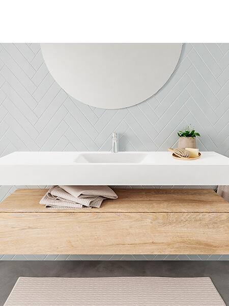 Mueble suspendido ALAN 150 cm de 1 cajón roble lavabo. Encimera con lavabo CLOUD centro 1 orificio blanco mate