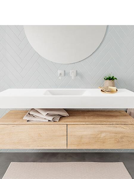Mueble suspendido ALAN 150 cm de 2 cajones roble lavabo. Encimera con lavabo CLOUD centro sin orificio blanco mate