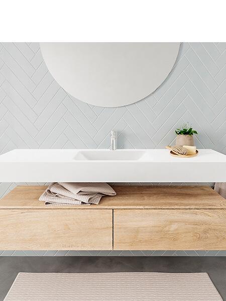 Mueble suspendido ALAN 150 cm de 2 cajones roble lavabo. Encimera con lavabo CLOUD centro 1 orificio blanco mate