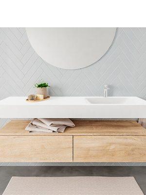 Badkamermeubel met solid surface wastafel model ALAN wit kast washoak front 00038 1