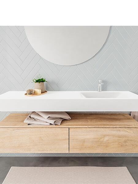 Mueble suspendido ALAN 150 cm de 2 cajones roble lavabo. Encimera con lavabo CLOUD derecha 1 orificio blanco mate