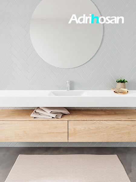 Mueble suspendido ALAN 200 cm de 2 cajones roble lavabo. Encimera con lavabo CLOUD centro 1 orificio blanco mate