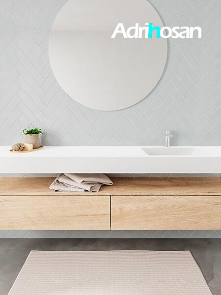 Mueble suspendido ALAN 200 cm de 2 cajones roble lavabo. Encimera con lavabo CLOUD derecha 1 orificio blanco mate