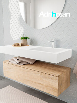 Badkamermeubel met solid surface wastafel model ALAN wit kast washoak side 00014 2