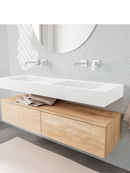 Badkamermeubel met solid surface wastafel model ALAN wit kast washoak side 00035 2