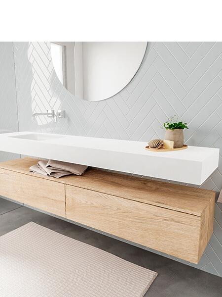 Badkamermeubel met solid surface wastafel model ALAN wit kast washoak side 00041 2