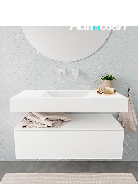 Mueble suspendido ALAN 100 cm de 1 cajón blanco mate. Encimera con lavabo CLOUD centro sin orificio blanco mate