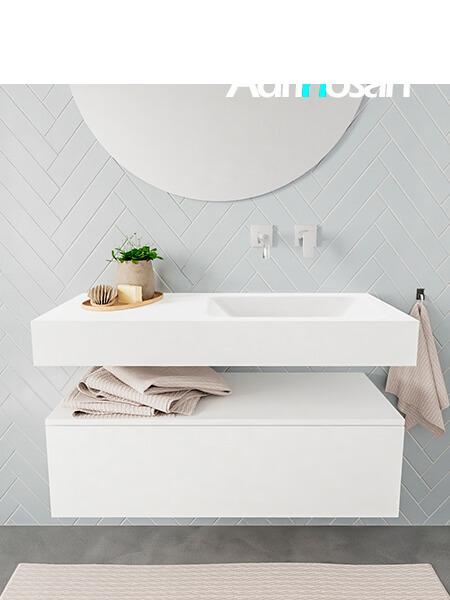Mueble suspendido ALAN 100 cm de 1 cajón blanco mate. Encimera con lavabo CLOUD derecha sin orificio blanco mate
