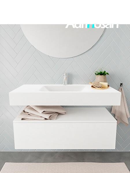 Mueble suspendido ALAN 100 cm de 1 cajón blanco mate. Encimera con lavabo CLOUD centro 1 orificio blanco mate
