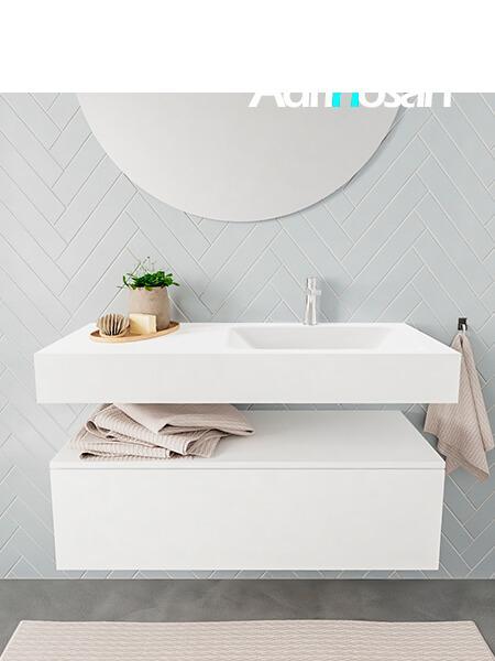 Badkamermeubel met solid surface wastafel model ALAN wit kast white front 00007 1