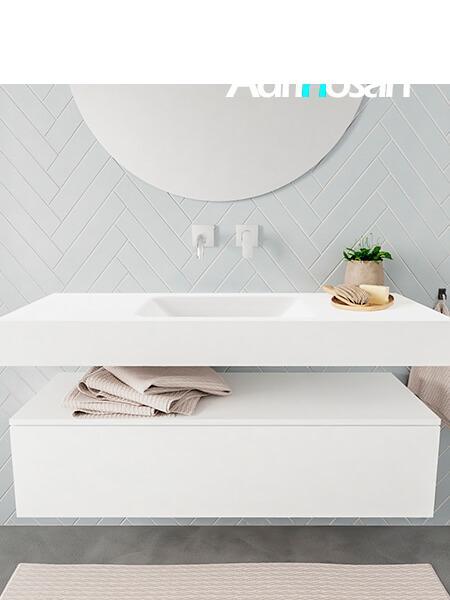 Badkamermeubel met solid surface wastafel model ALAN wit kast white front 00008 1