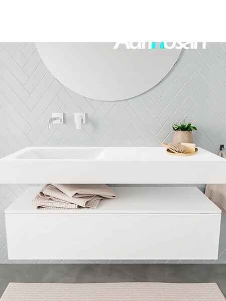 Mueble suspendido ALAN 120 cm de 1 cajón blanco mate. Encimera con lavabo CLOUD izquierda sin orificio blanco mate