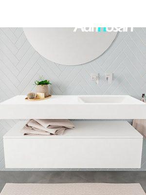Badkamermeubel met solid surface wastafel model ALAN wit kast white front 00010 1