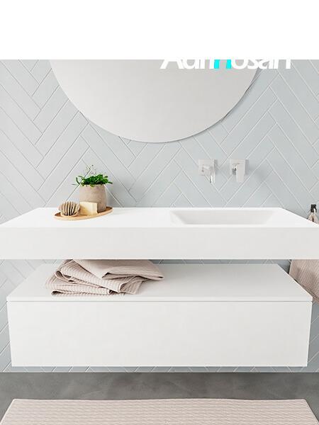 Mueble suspendido ALAN 120 cm de 1 cajón blanco mate. Encimera con lavabo CLOUD derecha sin orificio blanco mate