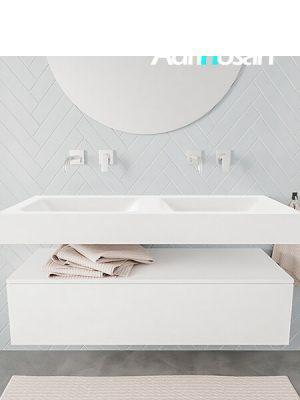 Badkamermeubel met solid surface wastafel model ALAN wit kast white front 00011 1