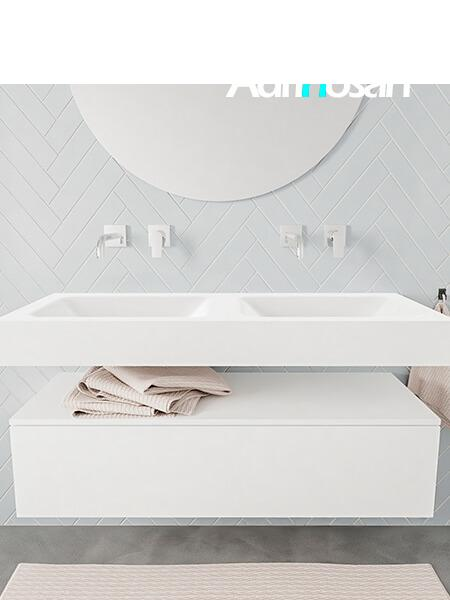 Mueble suspendido ALAN 120 cm de 1 cajón blanco mate. Encimera con lavabo CLOUD doble sin orificio blanco mate