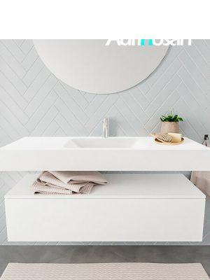 Badkamermeubel met solid surface wastafel model ALAN wit kast white front 00012 1