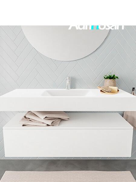 Mueble suspendido ALAN 120 cm de 1 cajón blanco mate. Encimera con lavabo CLOUD centro 1 orificio blanco mate