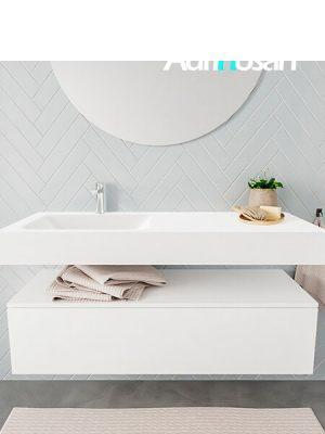 Badkamermeubel met solid surface wastafel model ALAN wit kast white front 00013 1